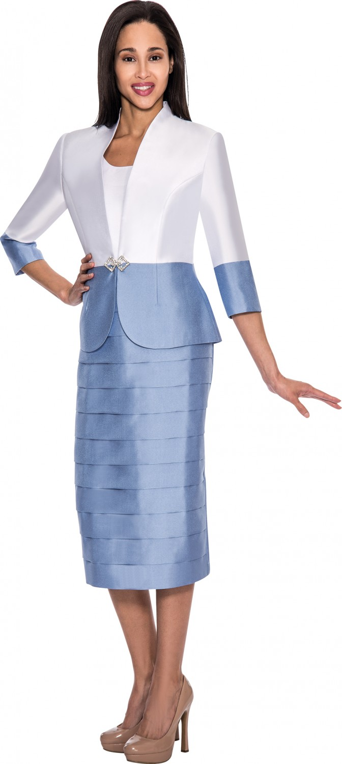 Women Dresses White Dusty Blue Dn4432 Not Just Church Suits