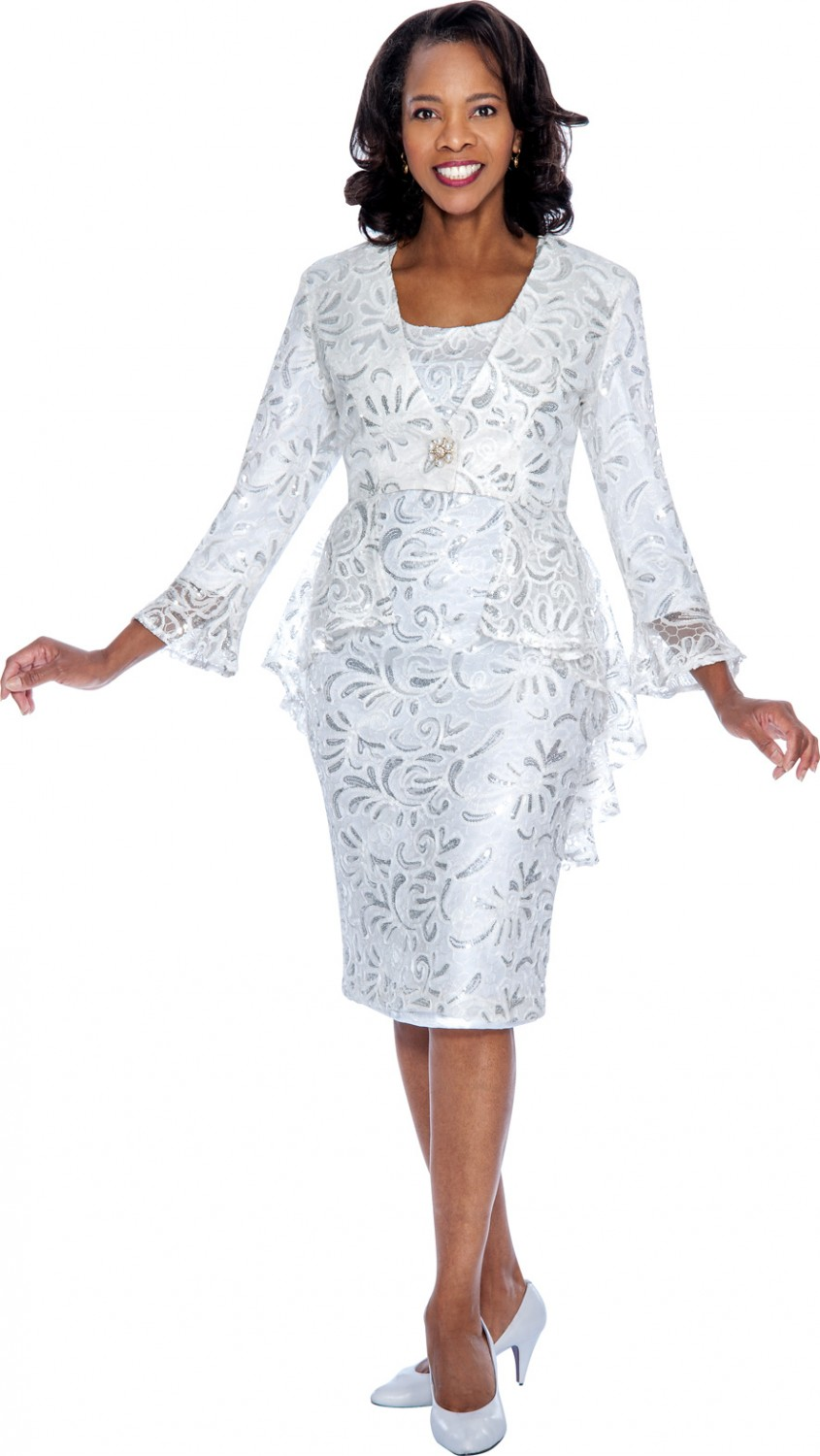 Women Dresses WHITE / SILVER DN4592 | | Not Just Church Suits