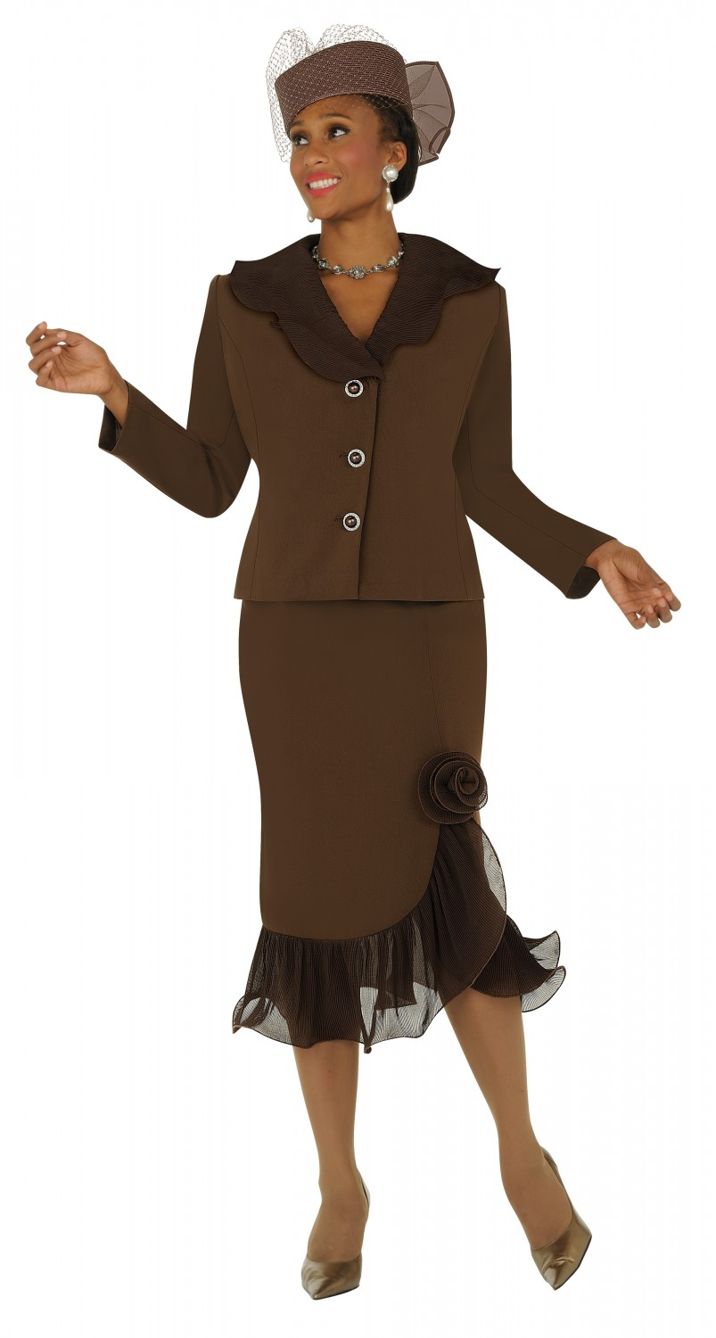 church suits brown g4452 sheered scalloped