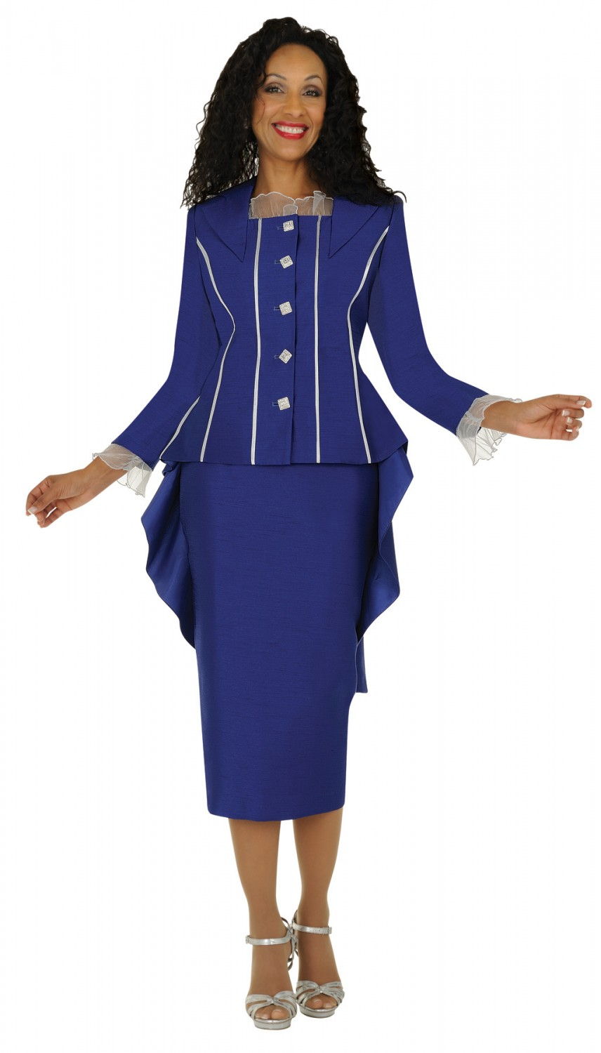 Women Church Suits NAVY BLUE / Silver G4592 | Texedo Jacket skirt ...