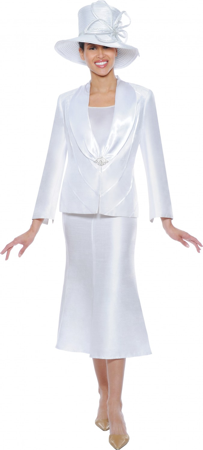 Women Church Suits White G4633 | Satin soft shawl skirt suit | Not ...
