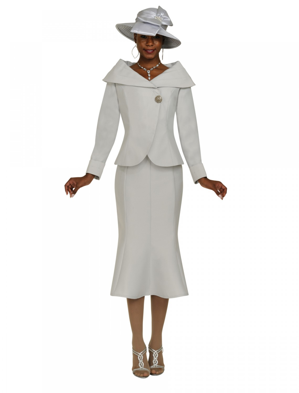 Elegant  Pearl Trimmed Lace Over Shantung Skirt Suit  Not Just Church Suits