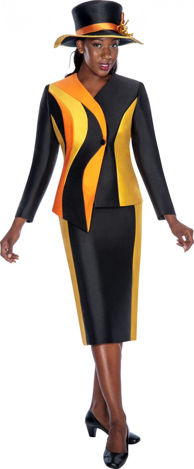 Women Church Suits BLACK / GOLD / ORANGE G5542 | | Not Just Church ...