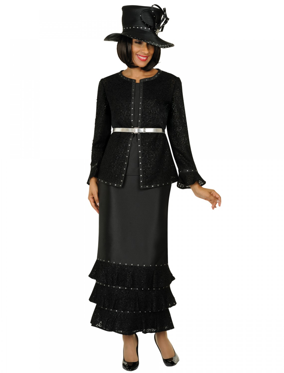 Popular Women Church Suits BLACK WHITE G4902   Not Just Church Suits