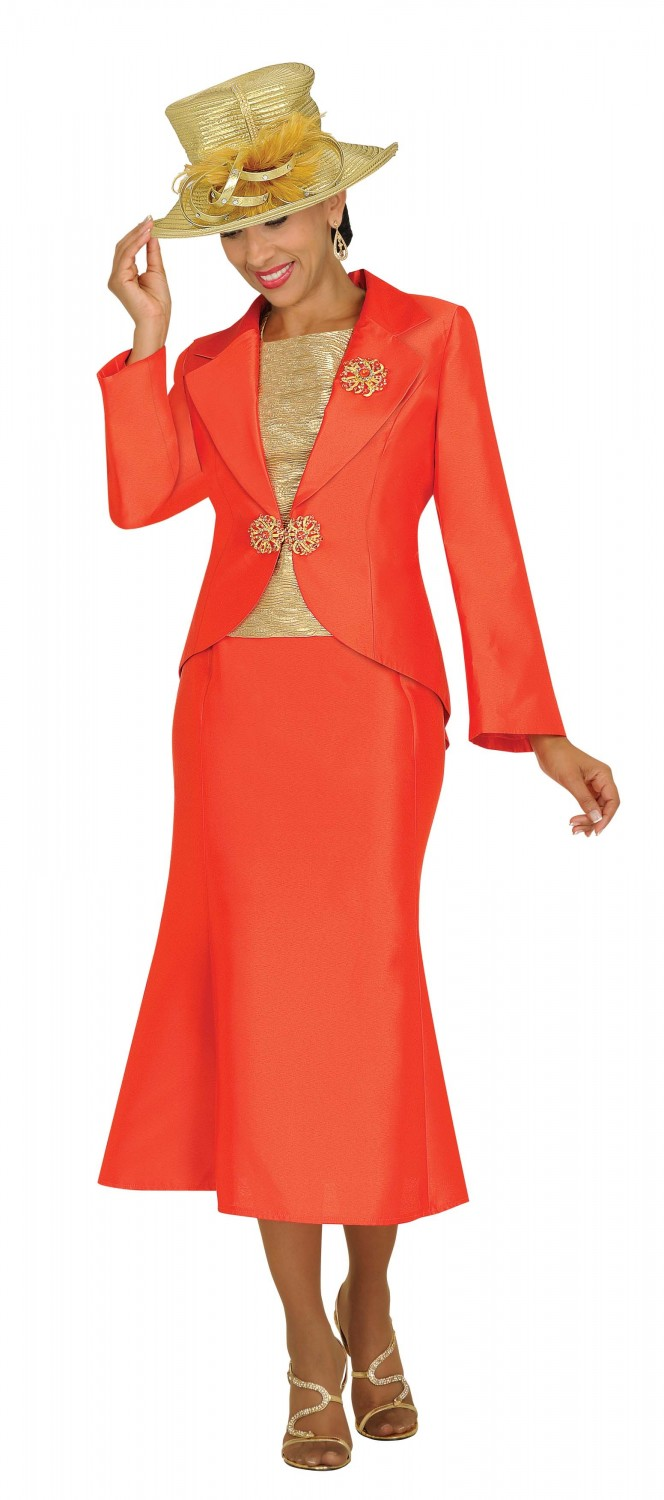 Women Church Suits ORANGE / GOLD N95853 | 3 Piece Suit w/ Textured ...