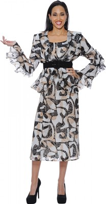 Dresses-DN5382 - Black / Caramel /White