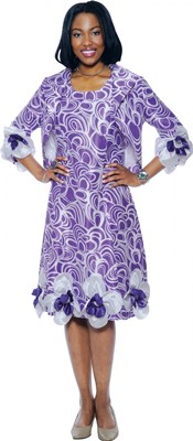 Dresses-DN5422 - Purple / White