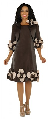 Dresses-DN5912 - BROWN / CHAMPAGNE</h3>
