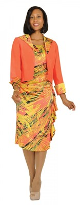 Dresses-DN6122 - ORANGE / GREEN / GOLD