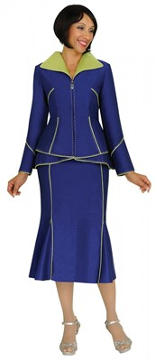 Church Suits-G4222 - NAVY Blue / BRIGHT GREEN