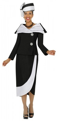 Church Suits-G4522 - BLACK /  WHITE
