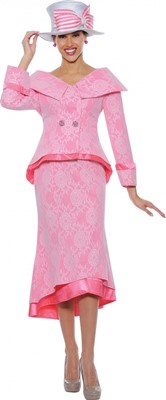 Church Suits-G4652 -  White / Pink
