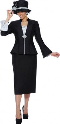 Church Suits-G4703 - Black / Silver