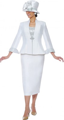 Church Suits-G4703 - White / Silver
