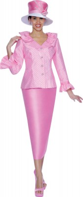 Church Suits-G4902 - Bubble Gum Pink/White
