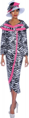 Church Suits-G5092 - B/W Zeeb + Hot PINK