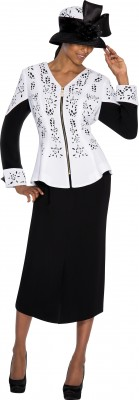 Church Suits-G5362 - WHITE / BLACK