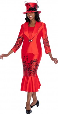 Church Suits-G5443 - RED / BLACK