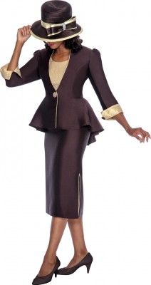 Church Suits-G5493 - BROWN / GOLD