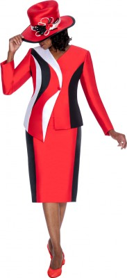 Church Suits-G5542 - RED / BLACK / WHITE