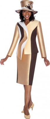 Church Suits-G5542 - CHAMPAGNE / BROWN / IVORY