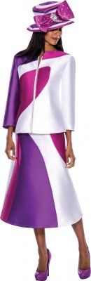 Church Suits-G5683 - PURPLE / WHITE /AUBERGINE