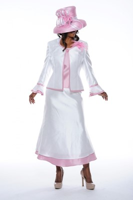 Church Suits-N95033 - White/ Dusty Pink