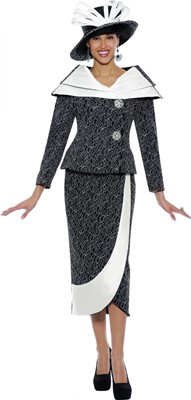 Church Suits-N95142 - BLACK / WHITE